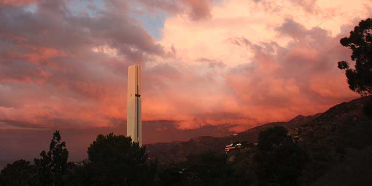 Pepperdine theme tower at sunset